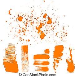 hand, -, getrokken, sinaasappel, borstel, textured, slagen