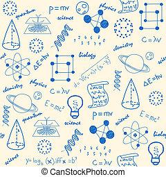 hand, getrokken, wetenschap, seamless, iconen
