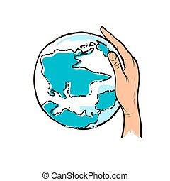 hand houdend, menselijk, tekening, globe, ontwerp, blauwe