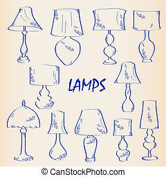 hand, interieur, pictogram, set, getrokken, lampen