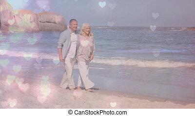 hand, paar, strand, wandelende