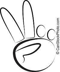 hand-peace, logo, symbool, vector