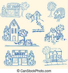 hand, pictogram, set, getrokken, huisen