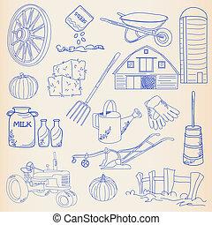 hand, pictogram, set, getrokken, landbouw