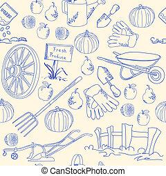 hand, pictogram, tuin, set, getrokken, seamless