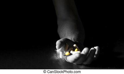 hand, pillen, vasthouden, poeder, witte