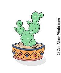 hand, print., cactus, vector., getrokken