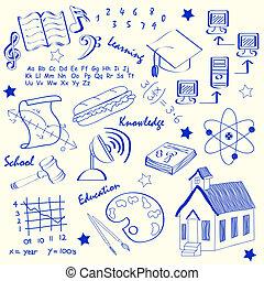 hand, school, set, getrokken, iconen