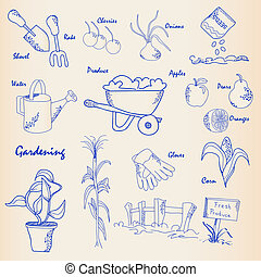 hand, tuinieren, pictogram, set, getrokken