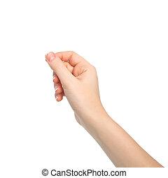 hand, vrouw, vrijstaand, voorwerp, vasthouden