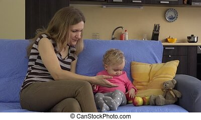 handappel, haar, gezonde , moeder, kind, kleine, fruits., rood