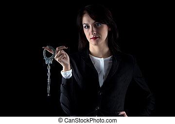 handcuffs, paar, beeld, vrouw, serieuze