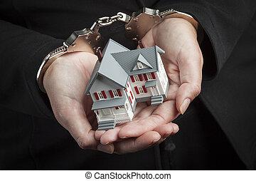handcuffs, woning, kleine, vrouwenholding