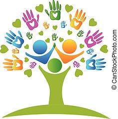 handen, boompje, logo, hartjes, figuren
