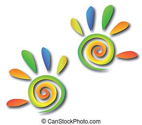 handen, gekleurde, spiraal, vector, fingers.