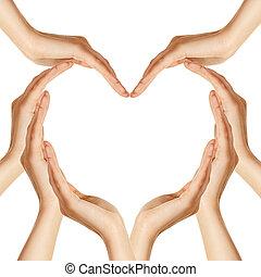 handen, hart, maken, vorm