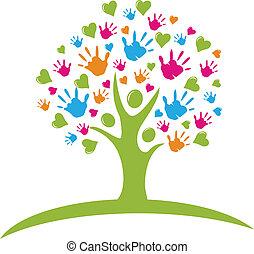 handen, hartjes, boompje, figuren
