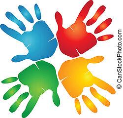 handen, kleurrijke, teamwork, logo, ongeveer