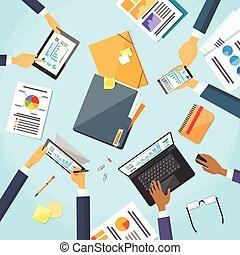 handen, mensen, werkende , handel team, werkplaats, bureau