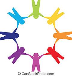 handen, papier, cirkel, vasthouden, mensen
