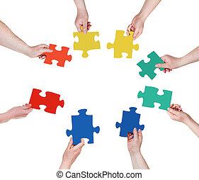 handen, puzzelstukjes, cirkel, mensen