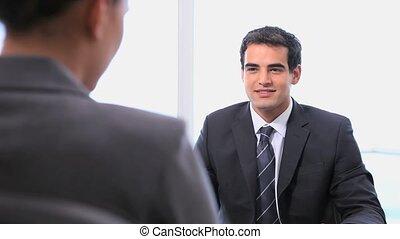handen, schudden, businesswoman, zakenman