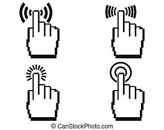 handen, set, pixel, pictogram