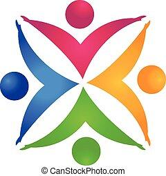 handen, vasthouden, mensen, teamwork, logo