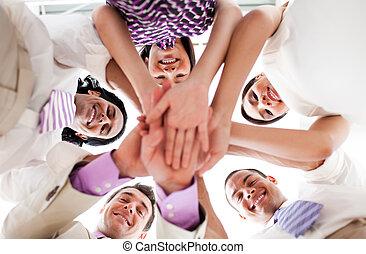 handen, vasthouden, mensen zaak, samen, het glimlachen, cirkel