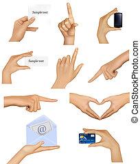 handen, vasthouden, objects., set