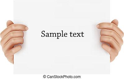 handen, vasthouden, zakelijk, object., twee