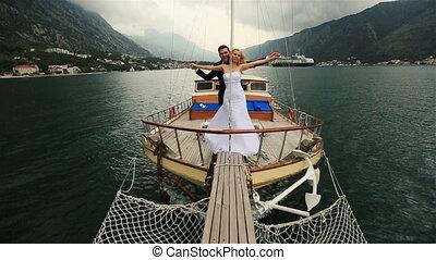 handen, vasthouden, zeilend, budva, paar, bars, montenegro, zee, trouwfeest, scheeps
