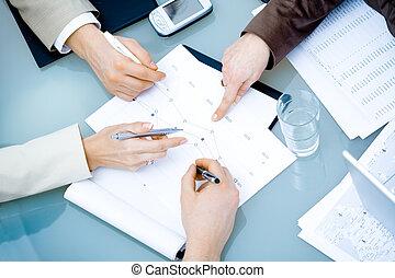 handen, vergadering, zakelijk