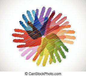 handen, verscheidenheid, krabbelen