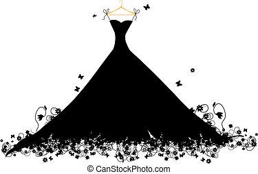 hander, jurkje, vector, black , illustratie