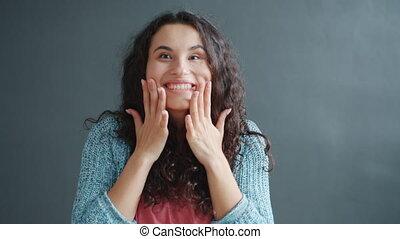 handgeklap, gevoel, lachen, verwonderd, handen, meisje, vertragen, vrolijke , motie
