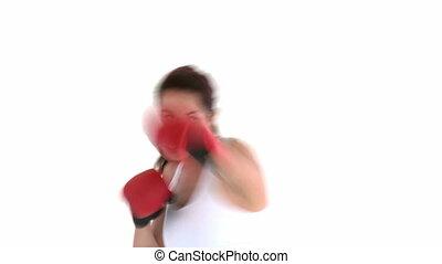 handschoen, vrouw, spaans, boxing, vervelend