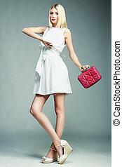 handtas, meisje, mode, prachtig, jonge, woman., foto