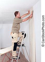 handyman, behang, het leggen