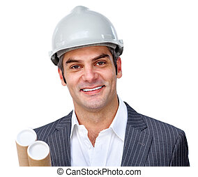 hardhat, architect, middelbare leeftijd , vervelend, mannelijke