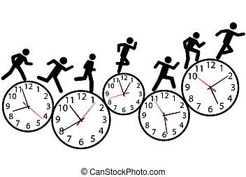 hardloop, uitvoeren, mensen, symbool, clocks, tijd