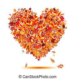 hart, autumn!, bladeren, vorm, liefde, het vallen