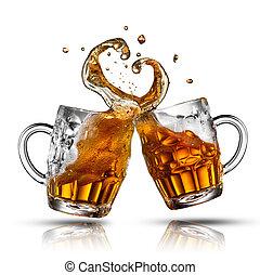 hart, bier, vrijstaand, vorm, gespetter, witte