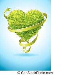 hart, bladeren, concept, ecologie, groene