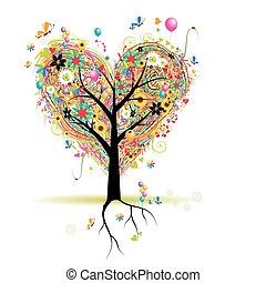 hart, boompje, vakantie, vorm, ballons, vrolijke