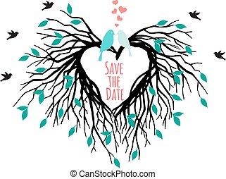 hart, boompje, vogels, trouwfeest