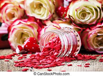 hart, brandpunt, roze, fris, valentines, rozen, zoet, rode kaart, selectief, witte , dag, achtergrond
