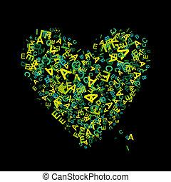 hart, brieven, jouw, ontwerp, vorm