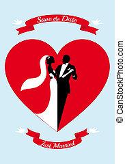 hart, bruidegom, rood, bruid