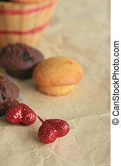 hart, chocolade, rood, muffins